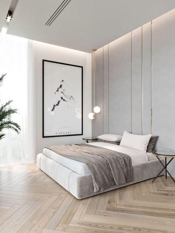 Desain Kamar Tidur Scandinavian dengan Aksen Garis Vertikal