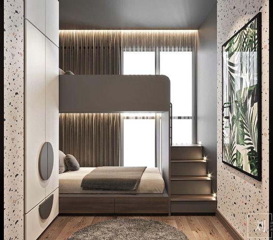Desain Kamar Tidur Tingkat dengan Tembok Motif