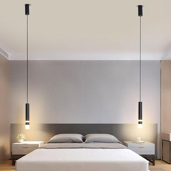 Desain Kamar Tidur dengan 2 Lampu Gantung