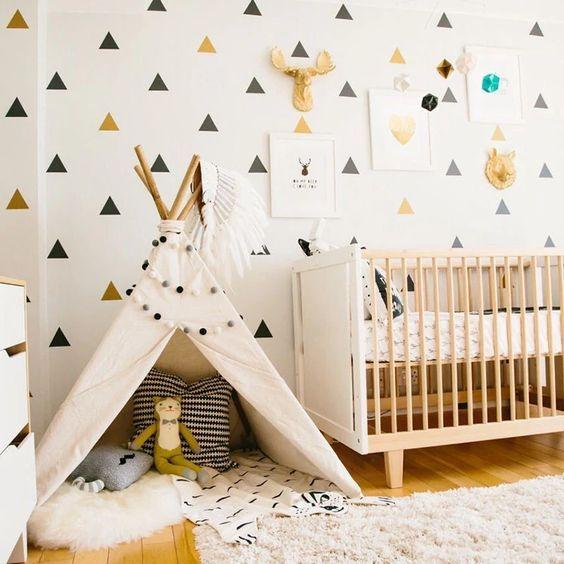 Hiasan Dinding Kamar Tidur Wallpaper Homemade Segitiga
