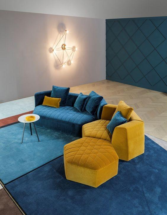 Kursi Sofa Blue Tosca and Yellow