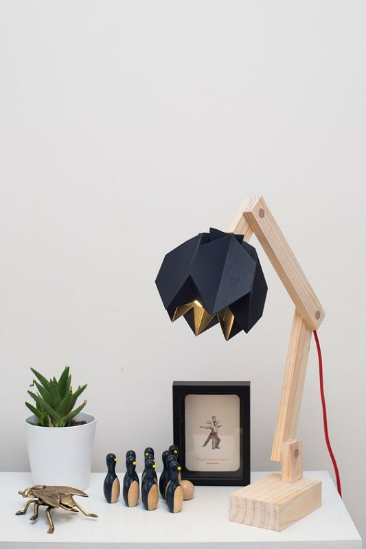 Lampu Belajar Wood and Black Matte