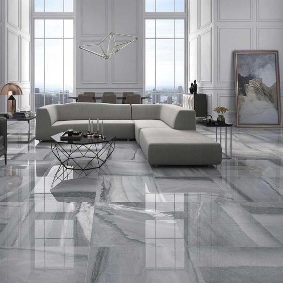 Lantai Granit Motif Kayu Hitam Putih