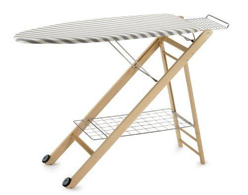 Meja Setrika Model Lipat Rangka Kayu Motif Garis-garis Abu & Putih