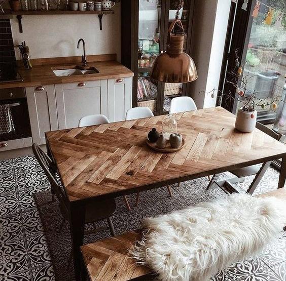 Meja Makan Kayu Motif Anyaman