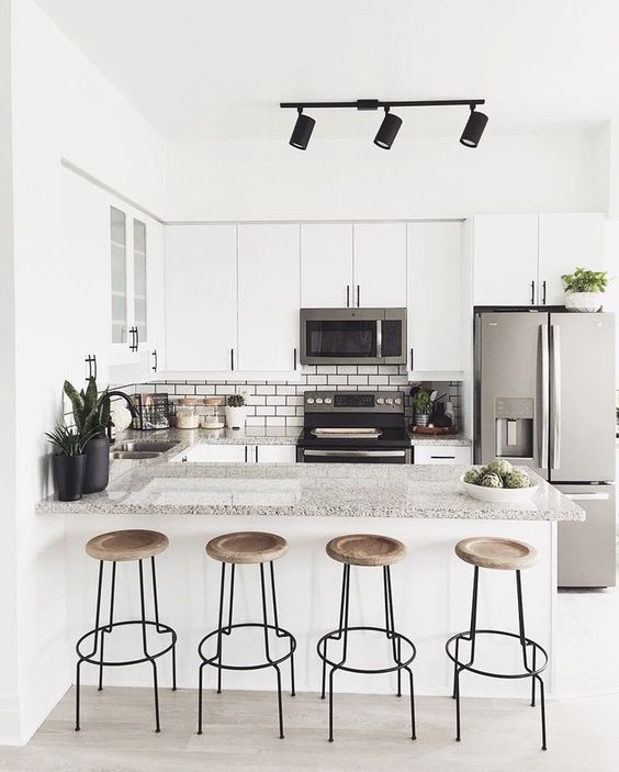 Dapur Minimalis dengan Meja Granit