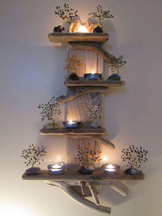 Hiasan Dinding Kayu Kombinasi Lilin