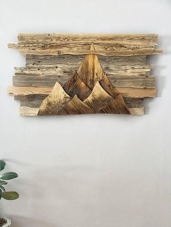 Hiasan Dinding Kayu Konsep Gunung