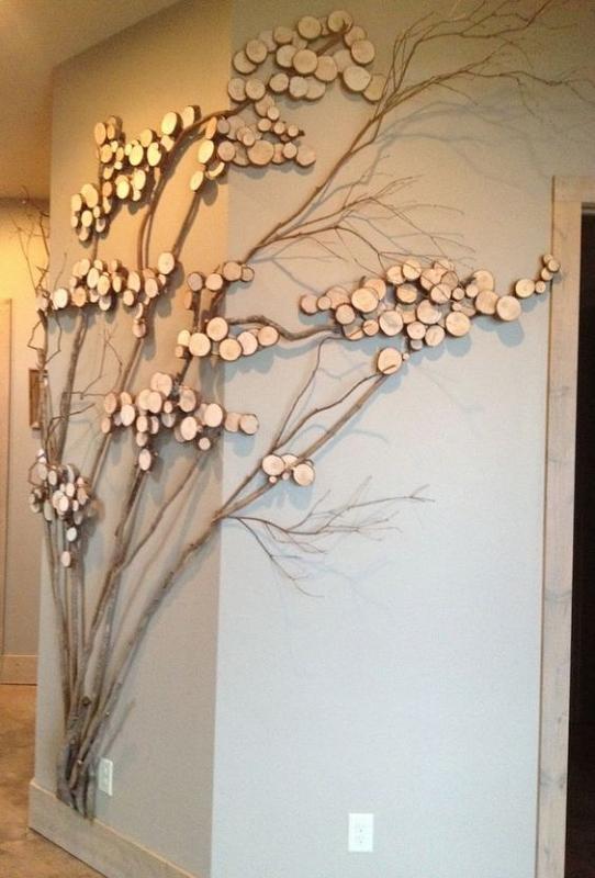 Hiasan Dinding Kayu dengan Model Ranting Pohon Bercabang