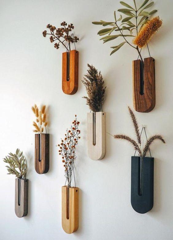 Hiasan Dinding Kayu untuk Vas Bunga Kering