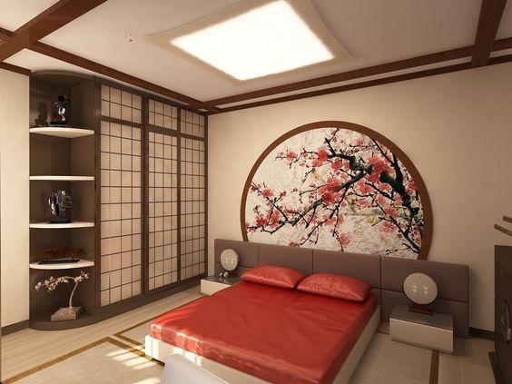 Kamar ala Jepang dengan Lukisan Bunga Sakura