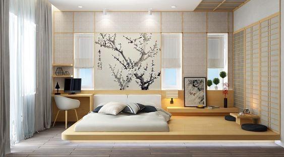 Kamar ala Jepang dengan Perpaduan Warna Senada