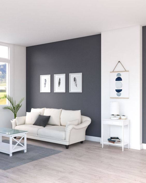 Ruang Tamu Minimalis dengan Penggunaan Warna Monokrom